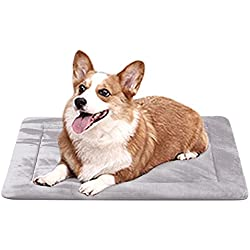 Dog Bed Mat Large Soft Crate Pad 28 In- 100% Machine Washable Anti-Slip Fleece Mattress Luxury Rich Color (28, Grey)
