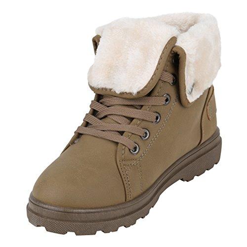 Stiefelparadies Damen Schnürstiefeletten Leder-Optik Stiefeletten Blockabsatz Boots Glitzer Schuhe Schnürschuhe Übergrößen Flandell Khaki Schnallen
