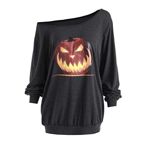 iYBUIA 2018 Women Plus Size Long Sleeve V-Neck Halloween Angry Pumpkin Skew Neck Tee Blouse -