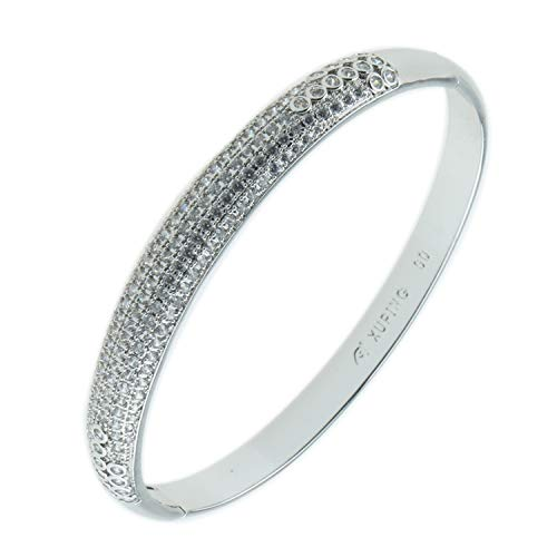 UJOY Fashion Silver Bangle Crystal Stones Inlay Wedding Bracelet Jewelry Gifts for Women ABP018S