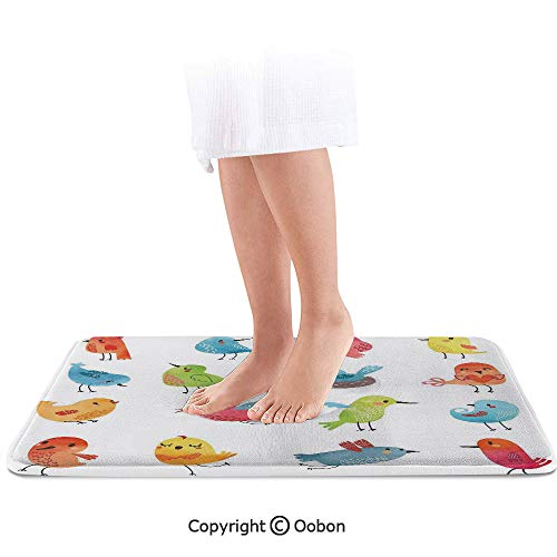 (Animal Bath Mat,Colorful Cute Birds Watercolor Effect Humor Funny Mascots Paint Brush Art Kids Design,Plush Bathroom Decor Mat with Non Slip Backing,32 X 20 Inches,Multi )