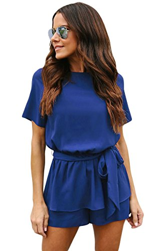 rt Sleeve Jumpsuits for Womens Juniors Summer Casual Elastic Waist Tie Rompers Blue S ()