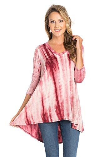 Bamboo Tie Dye - Frumos Womens Tunic 3/4 Sleeve Hi-Low Tie Dye Tunic Top Burgundy Bamboo Small