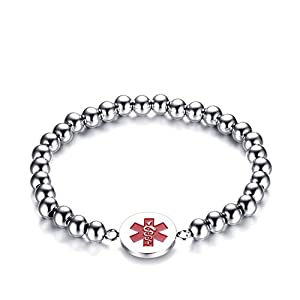 Heart of Charms Stainless Steel Medical Alert ID Bracelets Tag Emergency Beaded or Rope Leather Bracelet