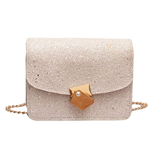 Anxinke Women Fashion Pearl Decor Sequins Chain Strap Cross Body Bags (Large, ()