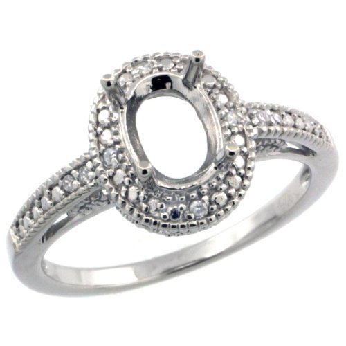 Sterling Silver Diamond Vintage Style Semi-Mount (8x6 mm Oval Stone Ring Rhodium Finish, size 10