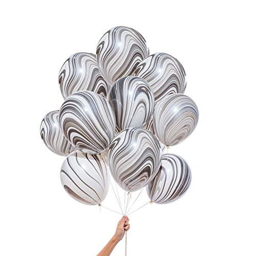 100 Pcs Marble Agate Latex Balloons, 10 Inches Party Balloon Decoration for Wedding, Birthday Party, Photobooth, Backdrop Etc.(Black)