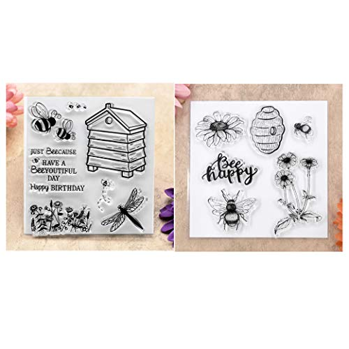 Different Style Bee Happy Flowers Happy Birthday Clear Stamps for Card Making Decoration and DIY Scrapbooking ()