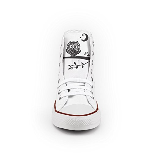 Moon Multicolor Personalizzate Owl scarpe and Star All Alta artigianali Converse zx1Cq8dzw