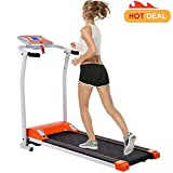 Fitness Folding Electric Support Motorized Power Jogging Treadmill Walking Running Machine Trainer Equipment [US Stock] (1.5 HP - Orange - Not with APP Control)
