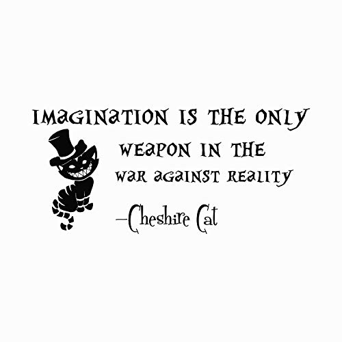 Alice in Wonderland Quote Wall Decal Imagination is the Only Weapon Vinyl Sticker Decals Quotes Decal Quote Decor Cheshire Cat Nursery x67]()