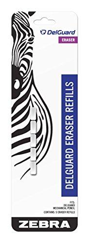 Zebra DelGuard Mechanical Pencil Eraser Refills 5-Count