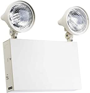 Sure-Lites XR12208 12-Volt Commercial Steel Emergency Light with 9-Watt Incandescent Lamps and 36-Watt Remote Capacity, White by Cooper Lighting