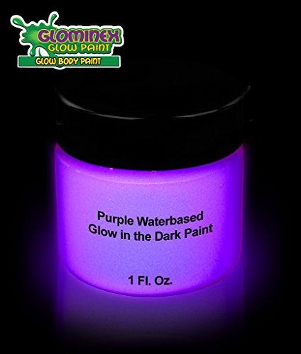 Glominex Glow in the Dark Face et Body Paint 1 oz Jar - Violet