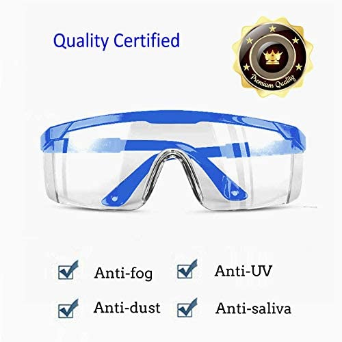 UV Protection Frame Blue Colors 5 PACK Protective Goggles Safety Glasses with Clear Anti Fog Scratch Resistant Wrap-Around Lenses and No-Slip Grips