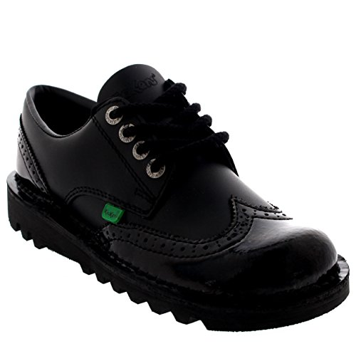 (Kickers Womens Kick Lo Brogue Core Leather Patent Lace Up Office Shoes - Black - 9.5)