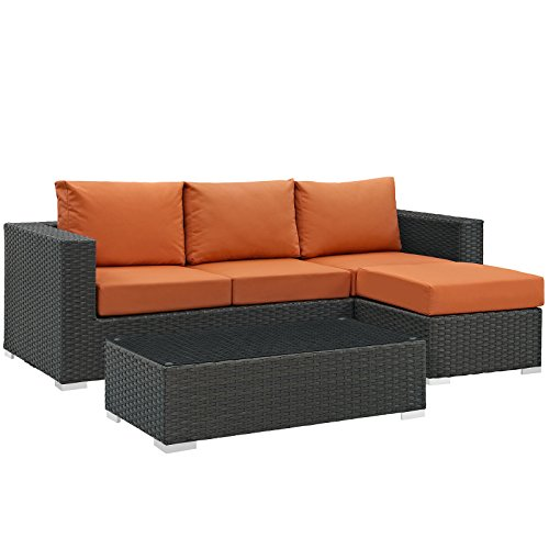 Modway Sojourn Casual Dining 3 Piece Outdoor Patio Rattan Sectional Set With Sunbrella Brand Tuscan Orange Canvas Cushions Review