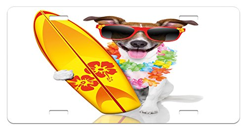 (Ambesonne Ride The Wave License Plate, Surfer Puppy with Sunglasses and Tropical Hibiscus Flowers Hawaiian Dog Print, High Gloss Aluminum Novelty Plate, 5.88 L X 11.88 W Inches, Multicolor)