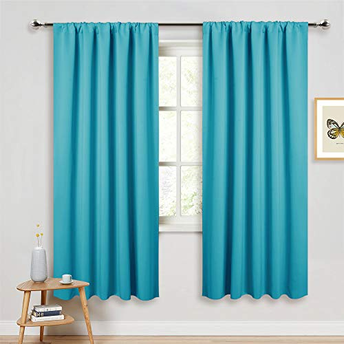 PONY DANCE Blue Curtains 72 inch - Light Blocking Curtain Panels Thermal Insulated Solid Rod Pocket Double Window Drapes for Living Room & Dining Room, W 52 in by L 72 in, Caribbean, 2 Pieces (Curtains Turquoise Light)