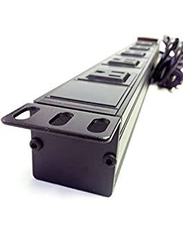 AVBcable PC-RM-5B 5 Outlet Rack Mount Power Strip 2 fronted mount w// 6FT Power Cord for Standard 19in rack.