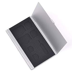 SCStyle SIM card Hard Aluminium Case Holder for Regular/Micro/Nano SIM & Apple iPhone/iPad Tray Eject Pin (Silver)