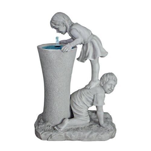 Design Toscano Get a Leg Up Girl and Boy Sculptural Fount...