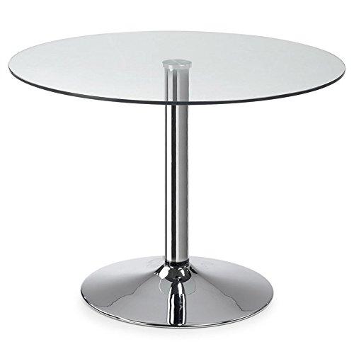 Kave Home - Mesa de Comedor Fany Redonda Ø 110 cm con sobre de Cristal Templado y pie de Acero Cromado