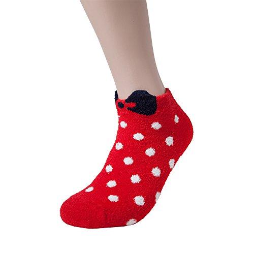 Dot Socks Fuzzy (Womens Winter Soft Warm Thermal Fuzzy Socks Bed Sleeping Sock DOT (1P, Red))