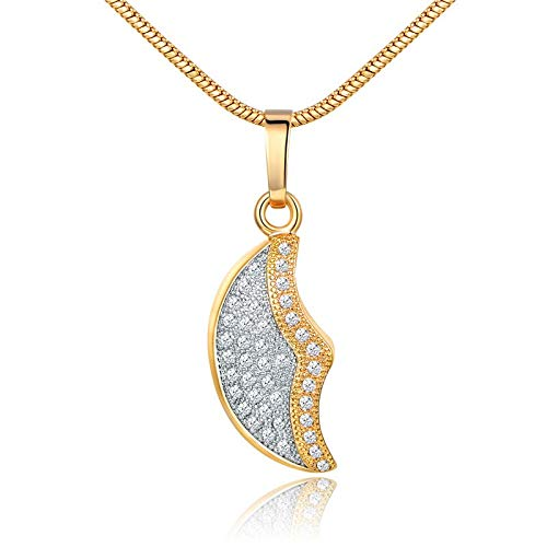 Wildy CCA Fashion Half Moon Shape Pendant Necklace for Women Clear Stone Cubic Gold Color Pendant Necklace Glp081