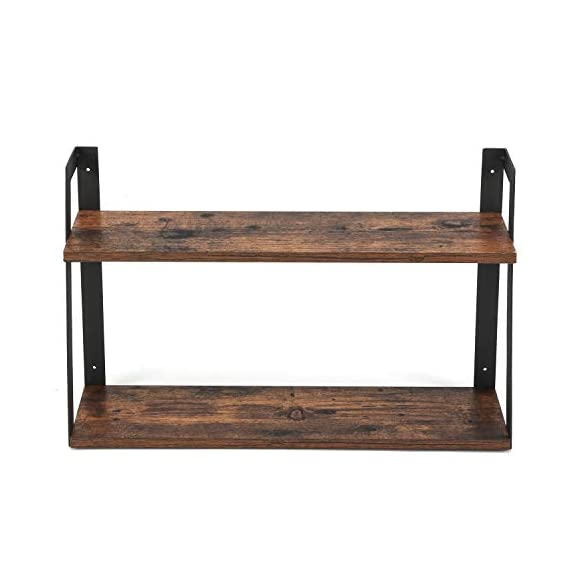 MaidMAX Floating Shelves, 2 Tier Rustic Shelf, Display Storage Ledge, Wall Mounted Shelf with Metal Brackets for Living Room, Bathroom, Bedroom, Kitchen, Wood Grain Finish - FLOATING SHELF DIMENSION: 23.5 (L) x 5.8 (D) x 15.6 (H) inches, load capacity: 35.3 lbs. TWO TIER STORAGE SHELVES : Lightweight but solid organizing shelves with ample storage, capable of holding over 35 lbs,offering large room for books, DVDs, ornaments and more. FUNCTIONAL WOOD WALL SHELVES : Unique shelving solution for reducing clutter by adding additional shelving space for books, collectibles, plants, crafts, photos and more in living room, bedroom, office, kitchen, pantry; Ideal for displaying your favorite collectibles or decorative items. - wall-shelves, living-room-furniture, living-room - 41PmRwSgnHL. SS570  -