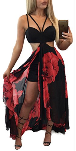 Nulibenna Women's 2 Piece Outfits Printed Backless Halter Crop Top Maxi (Backless Skirt)