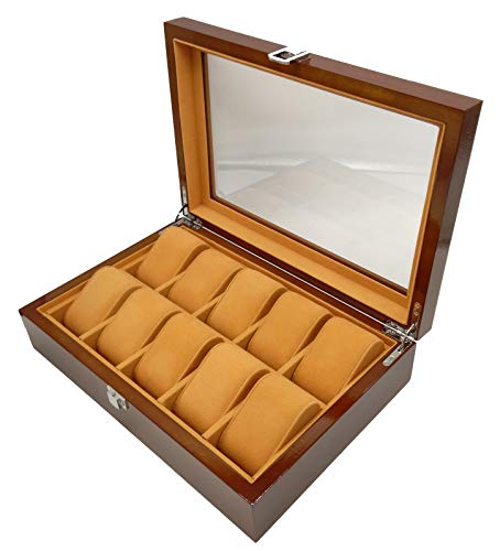- Plxixi Watch Case,10 Slots Wood Watch Box Display and Storage Organization Series with Glass Top (Brown, 10 Slots)