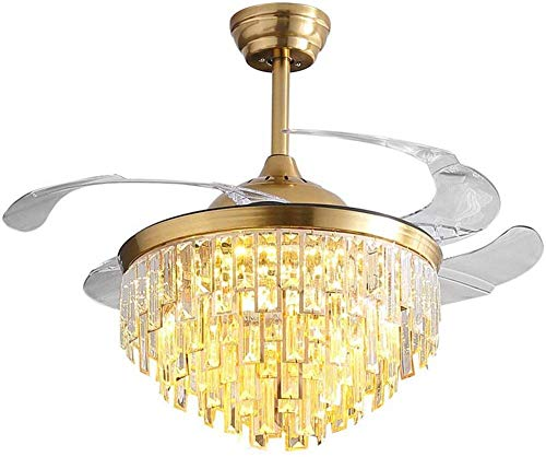 FINE MAKER Crystal Ceiling Fans with Light LED 3 Color-Change Modern Chandelier Fan with 4 Retractable Blades and Remote Control 42 for Living Room Bedroom Semi-Embedded Invisible Fan Lamp Gold