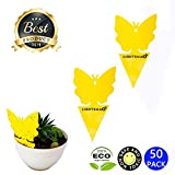 LIGHTSMAX Sticky Fruit Fly and Gnat Trap Yellow Sticky Bug Traps for Indoor/Outdoor Use - Insect Catcher for White Flies, Mosquitos, Fungus Gnats, Flying Insects - Disposable Glue Trappers (50, 50)