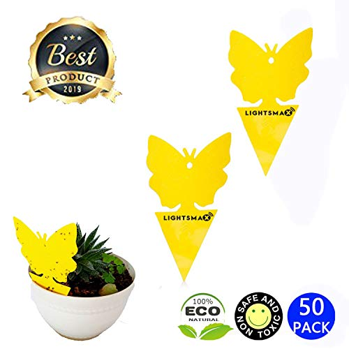 LIGHTSMAX Sticky Fruit Fly and Gnat Trap Yellow Sticky Bug Traps for Indoor/Outdoor Use - Insect Catcher for White Flies, Mosquitos, Fungus Gnats Flying Insects - Disposable Glue Trappers (50, 50)