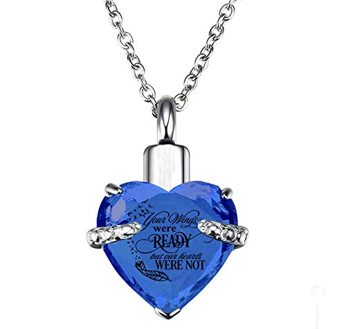 PREKIAR Heart Cremation Urn Necklace for Ashes Urn Jewelry Memorial Pendant with Fill Kit and Gift Box - Always on My Mind Forever in My Heart (Your Wings were Ready-Bluevoilet) (Etched Picture Charm Pendant)