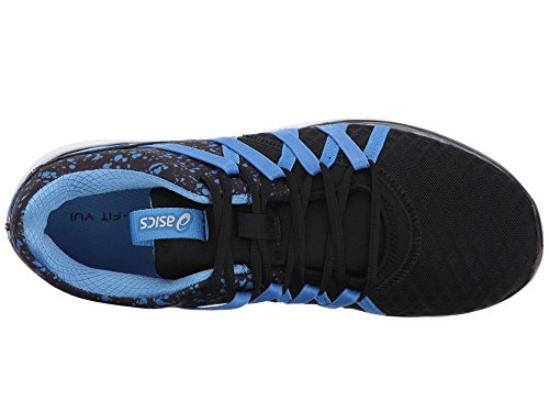 ASICS Women's Gel-Fit Yui Cross-Trainer-Shoes, Black/Regatta Blue/Silver, 10 Medium US