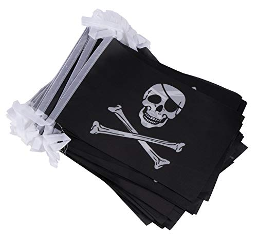 Juvale Pirate String Flags - 100-Piece Pennant Banner Hanging Decoration, Black Jolly Roger Skull and Crossbones Flag Garland for Indoor Outdoor Display, 5.5 x 8.2 Inches, 80 Feet Total ()
