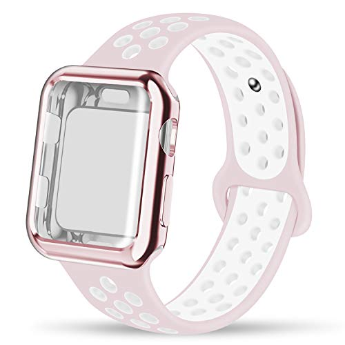 INTENY Compatible for Apple Watch Band 40mm with Case, Soft Silicone Sport Wristband with Apple Watch Screen Protector Compatible for iWatch Apple Watch Series 1,2,3,4,40mm M/L, Pearl Pink White ()