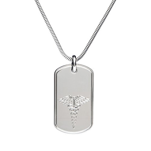 - Divoti Deep Custom Laser Engraved 316L Stainless Classic Medical Alert ID Necklace -Dog Tag -Snake Chain 24 in