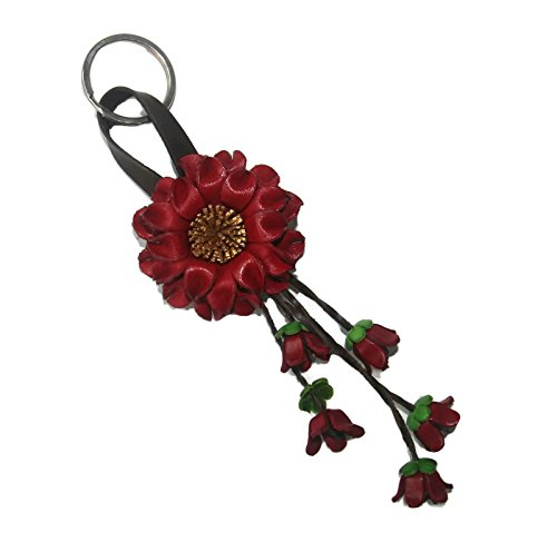 bella-pazzo-red-handmade-sunflower-flower-leather-keychain-key-ring-clasp-bag-charm-handbag-purse-ch