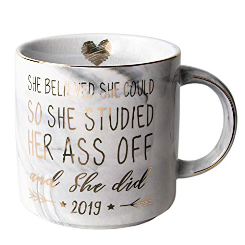 Vilight Congratulations Gifts and 2019 Graduation Gifts for Her - She Believed she could So She Did - Marble Ceramic Coffee Mug 11oz