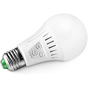 Elrigs Motion Sensor LED Bulb with Dusk to Dawn, E26 Base, 7W(60W Equivalent), Warm White(3000K), Motion Sensitivity, Time and Twilight Setting Adjustable
