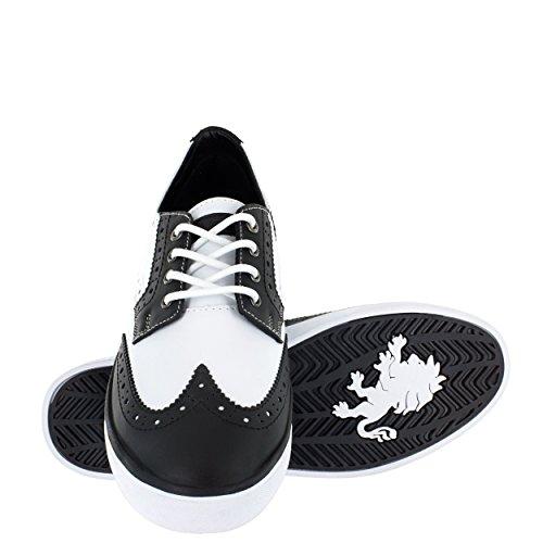 Vlado Chaussures Hommes Frappe Blanc / Cuir Noir Wingtip Sneaker Us 7.5