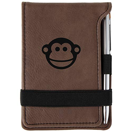 Monkey Face Engraved Leather Personalized Mini Notepad With Pen