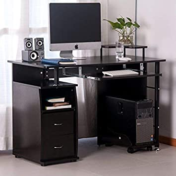 Computer Desk with Drawers, Home Office Desk, Computer Workstation with Pull-Out Keyboard Tray and Drawers Espresso