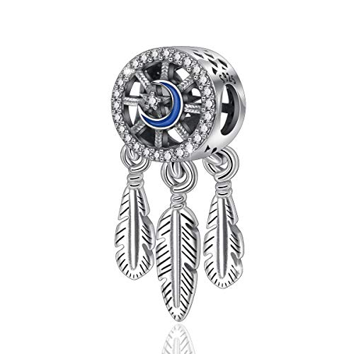 Dreamcatcher Charms Bead, Follow Your Dream 925 Sterling Silver Spiritual Charm Beads for Bracelets & Necklace Making, CELESTIA Fine Jewelry, Gift for Women - Dreamcatcher Sterling