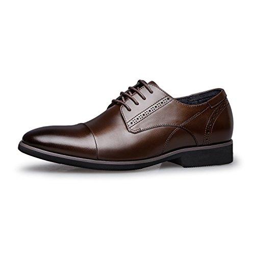 Toe Cap Up Dress Men's Lace Brogue Leather ZRO Oxfords Modern Brown Shoes XYx4UR