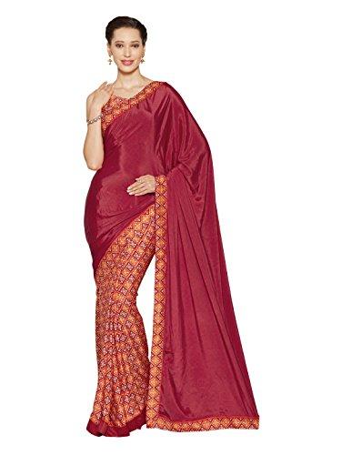 Women's Crepe Silk Printed Saree Bollywood Indian Clothes (3400_Magenta,Multi) (Crepe Silk Saree)