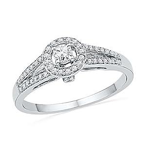 10kt White Gold Womens Round Diamond Solitaire Split-shank Bridal Wedding Engagement Ring 1/4 Cttw